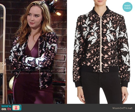 Aqua Lace Bomber Jacket worn by Camryn Grimes on The Young & the Restless