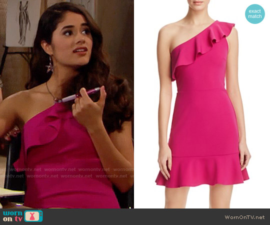 Aqua One Shoulder Ruffle Dress worn by Danube Hermosillo on The Bold & the Beautiful