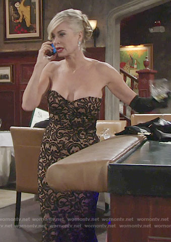 Ashley's strapless lace gown at the Opera on The Young and the Restless
