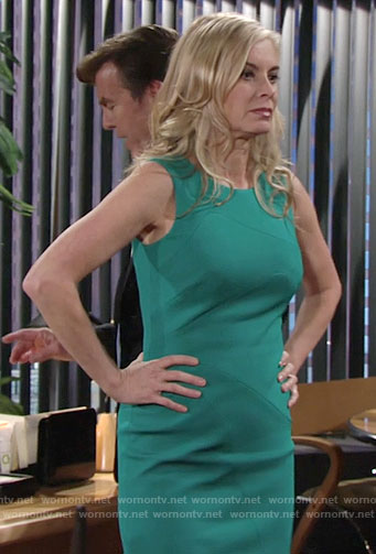 Ashley's green sleeveless sheath dress on The Young and the Restless