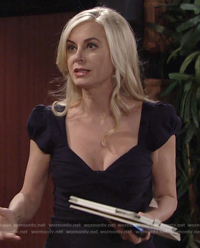 Ashley's navy short sleeve dress on The Young and the Restless