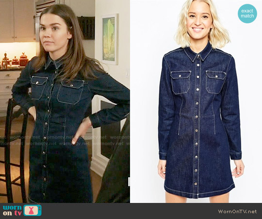 ASOS Denim Western A-Line Shirt Dress In Indigo worn by Maia Mitchell on The Fosters