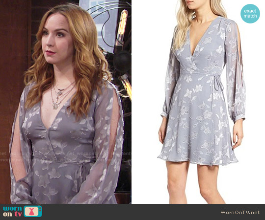 ASTR Burnout Wrap Dress worn by Camryn Grimes on The Young & the Restless