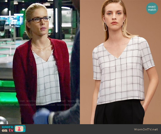Babaton Randy Blouse in Espace / Graphite worn by Emily Bett Rickards on Arrow
