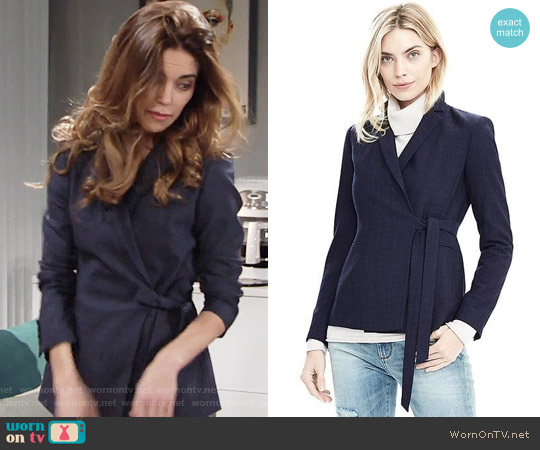 Banana Republic Lightweight Wool Wrapped Blazer worn by Victoria Newman (Amelia Heinle) on The Young & the Restless