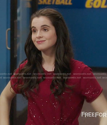 Bay's red paint splatter print tee on Switched at Birth