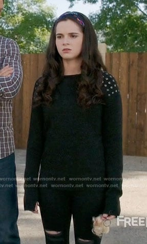 Bay's black sweater with studded shoulders on Switched at Birth