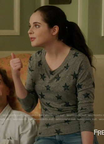 Bay's star print top on Switched at Birth