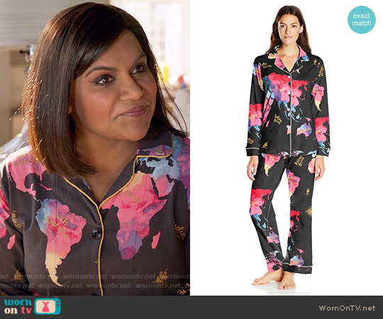 BedHead Classic PJ Set in Bon Voyage worn by Mindy Kaling on The Mindy Project