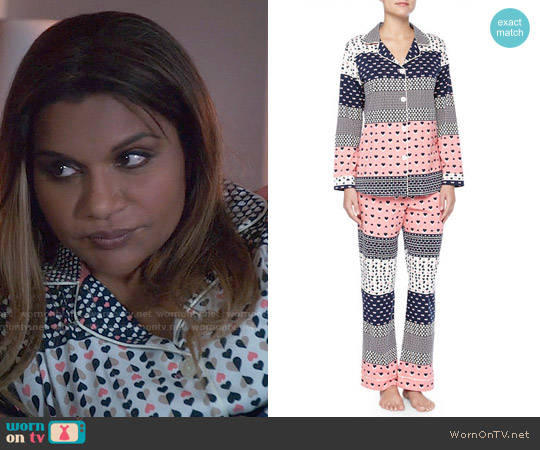 BedHead Classic PJ Set in Hearts Galore worn by Mindy Kaling on The Mindy Project