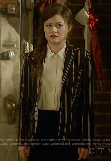Belle's striped blazer with heart print lining on Once Upon a Time