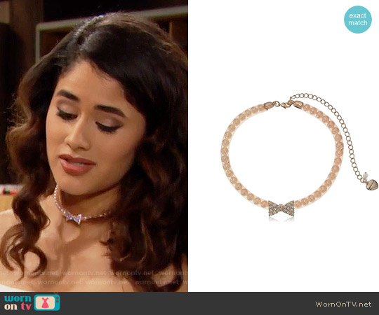 Betsey Johnson Pave Bow & Pearl Pink Mesh Choker Necklace worn by Darlita on The Bold & the Beautiful