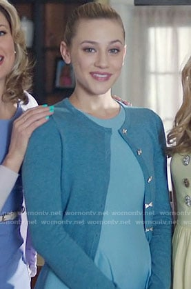 Betty's blue cardigan with bow buttons on Riverdale