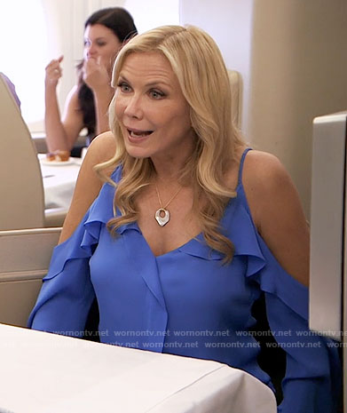 Brooke's blue cold-shoulder blouse on The Bold and the Beautiful