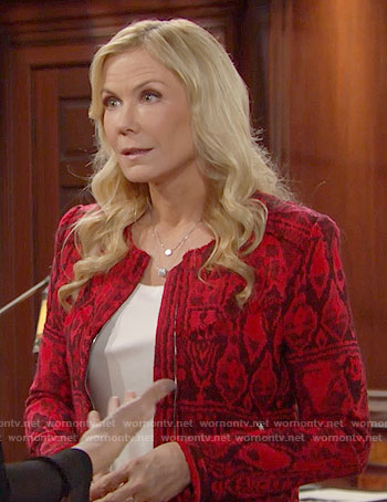 Brooke's red printed jacket on The Bold and the Beautiful