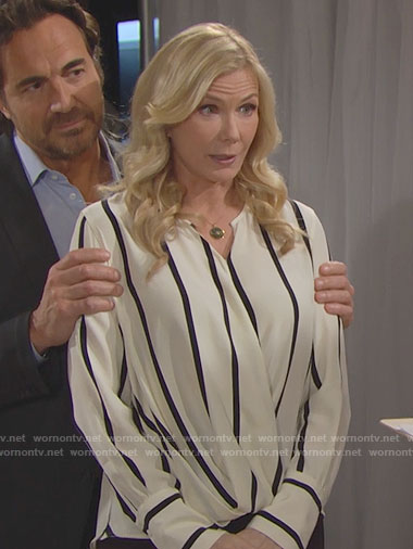 Brooke's striped wrap blouse on The Bold and the Beautiful