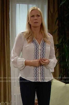 Brooke's white blouse with blue embroidery on The Bold and the Beautiful