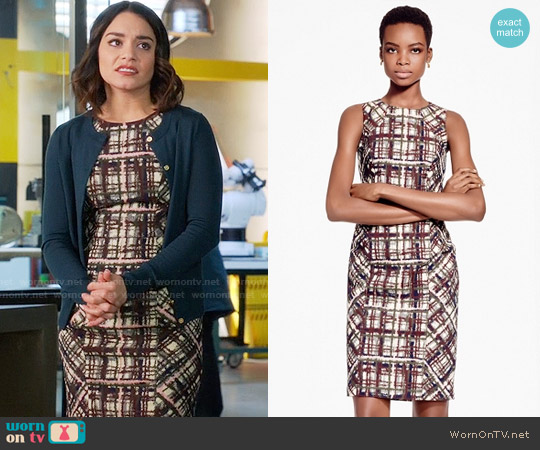 Brooks Brothers Plaid Jacquard Cotton Sheath Dress worn by Vanessa Hudgens on Powerless