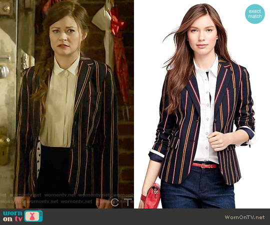 Brooks Brothers Wool Twill Blazer worn by Emilie de Ravin on OUAT