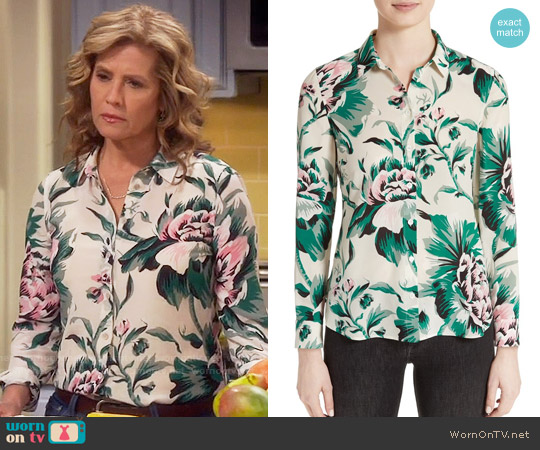 Burberry Aster Peony Rose Print Silk Shirt worn by Nancy Travis on Last Man Standing