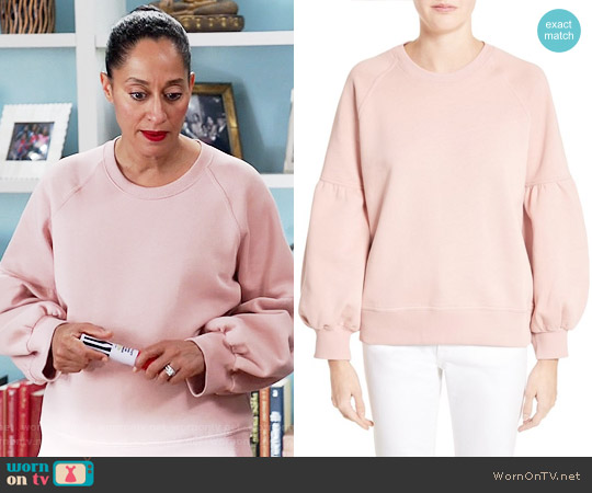 Burberry Bell Sleeve Sweatshirt in Ash Rose worn by Tracee Ellis Ross on Blackish