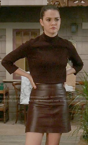 Callie's brown checked top and leather skirt on The Fosters