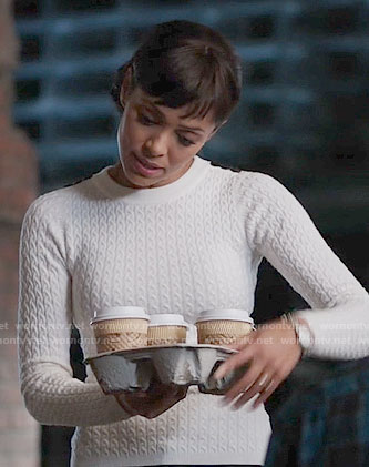 Camille's white cable knit sweater on Bones