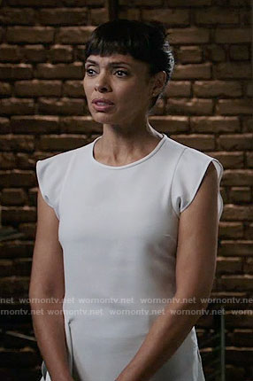 Camille's white ruffled top on Bones