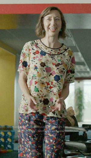 Carol's printed top and pants on Last Man on Earth