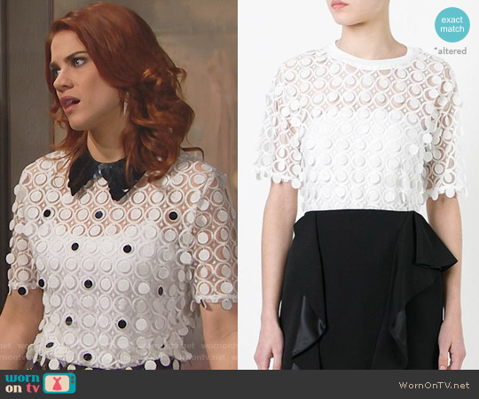 Carven Lace Detail Blouse worn by Courtney Hope on The Bold & the Beautiful