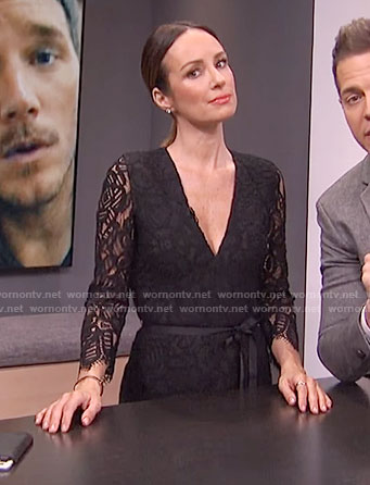 Catt Sadler's black lace v-neck jumpsuit on E! News