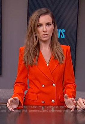 Catt Sadler's red double breasted coat on E! News