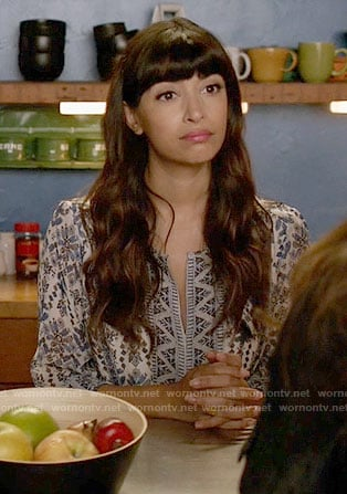 Cece's blue printed split-neck dress on New Girl