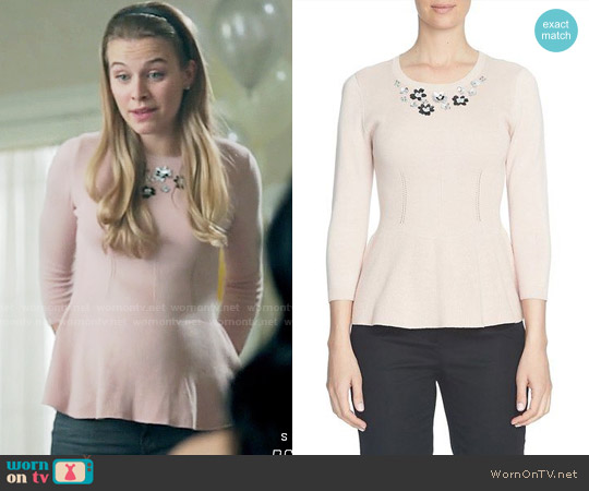 Cece Embellished Neck Peplum Sweater worn by Polly Cooper (Tiera Skovbye) on Riverdale