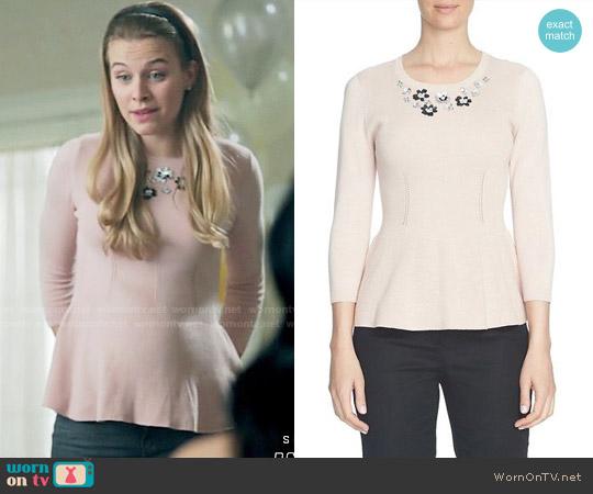 Cece Embellished Neck Peplum Sweater worn by Tiera Skovbye on Riverdale