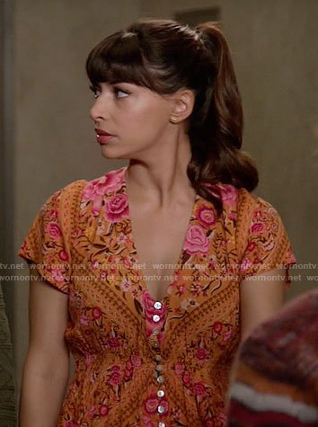 Cece's orange floral button front dress on New Girl
