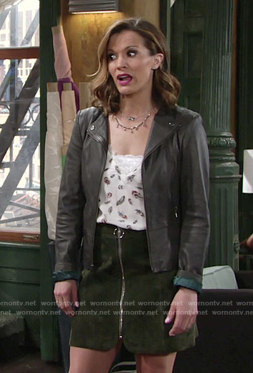 Chelsea's feather print top and suede zip front skirt on The Young and the Restless