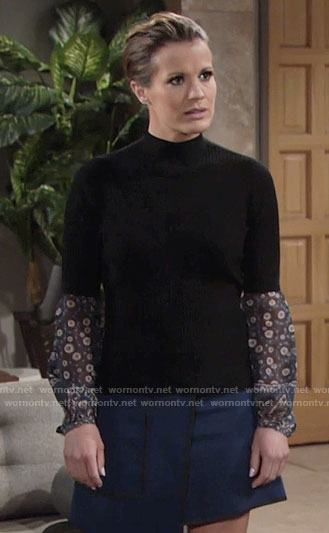 Chelsea's layered sweater and wrap skirt on The Young and the Restless