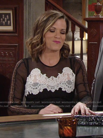 Chelsea's black and white lace dress on The Young and the Restless