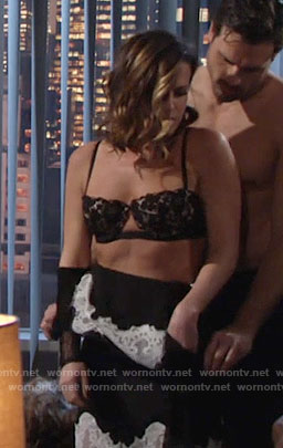 Chelsea's black lace bra with cutout on The Young and the Restless