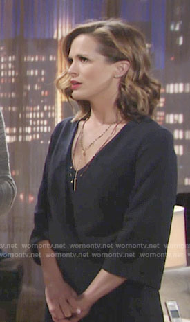 Chelsea's navy wrap dress on The Young and the Restless