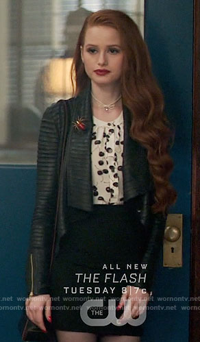 Cheryl's cherry print top and leather jacket on Riverdale