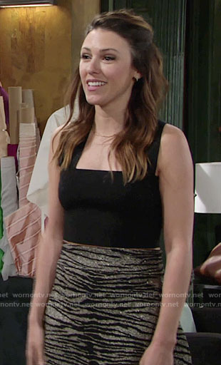 Chloe's black crop top and grey tiger striped skirt on The Young and the Restless
