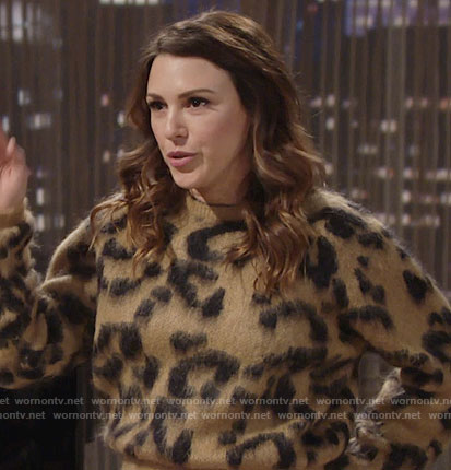 Chloe's leopard print sweater on The Young and the Restless