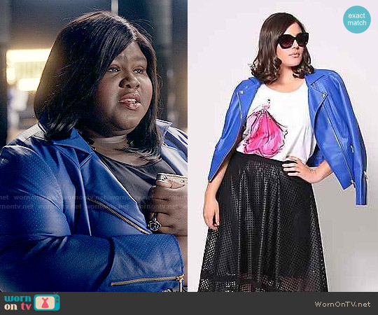 Christian Siriano for Lane Bryant Perforated Leather Jacket worn by Gabourey Sidibe on Empire