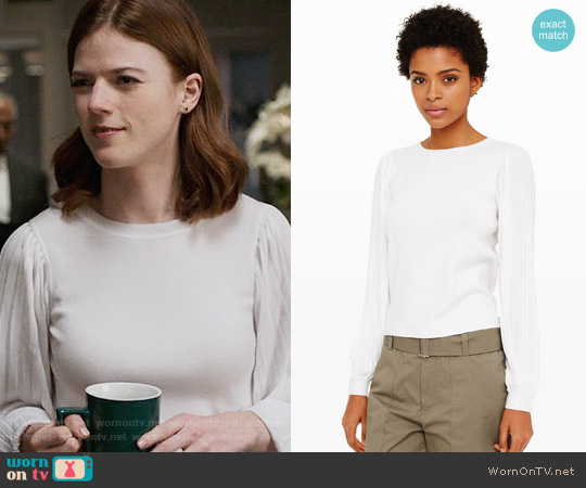 Club Monaco Elizabella Pleated Sweater worn by Rose Leslie on The Good Fight