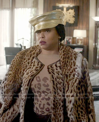 Cookie's sheer leopard top and leopard fur coat on Empire