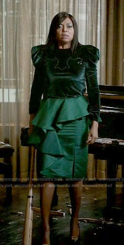 Cookie's green velvet top and ruffled skirt on Empire
