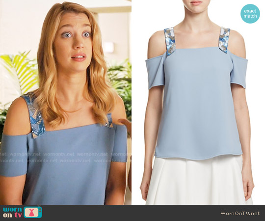 Cooper & Ella Sandra Top in Stone Blue worn by Petra Solano (Yael Grobglas) on Jane the Virgin