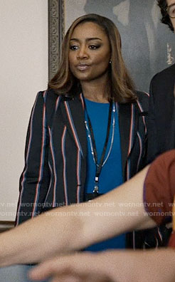 Daisy's navy striped blazer on Madam Secretary